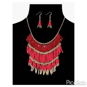 Shades of Red and Gold Bead Drop Necklace Set